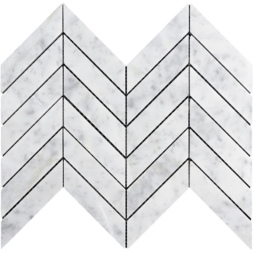 "White Carrara 1""x4"" Large Chevron"