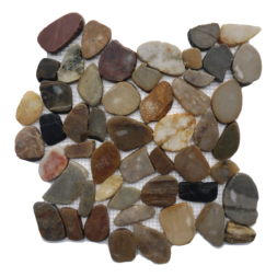 Flat Polished Mixed Color Pebble Mosaic