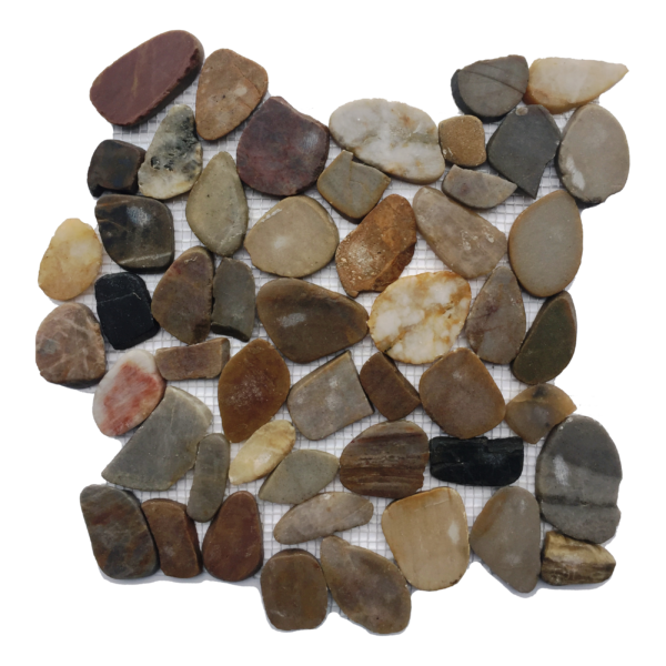 Flat Polished Mixed Color Pebble Mosaic