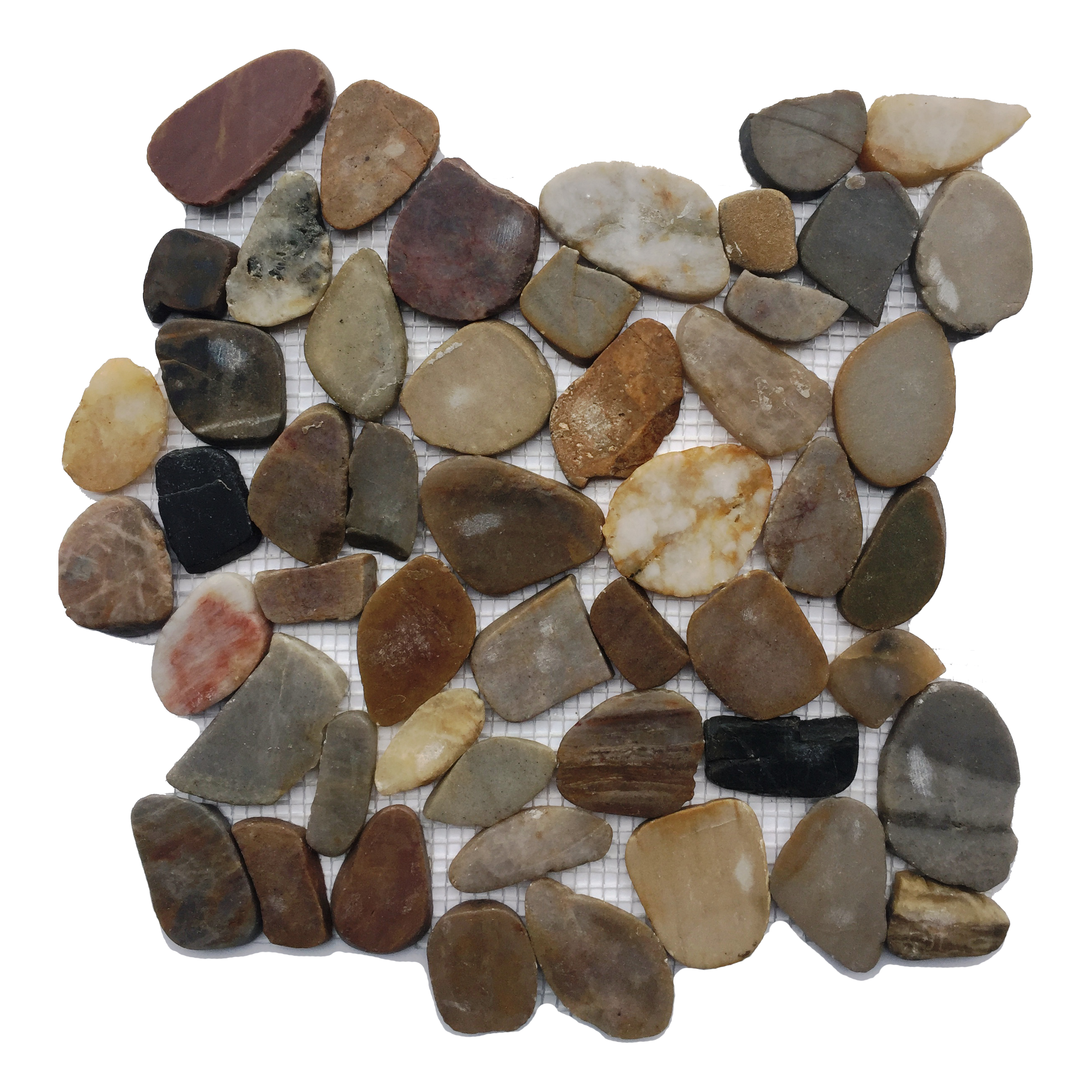 Flat Mixed Color Polished Pebble Mosaic