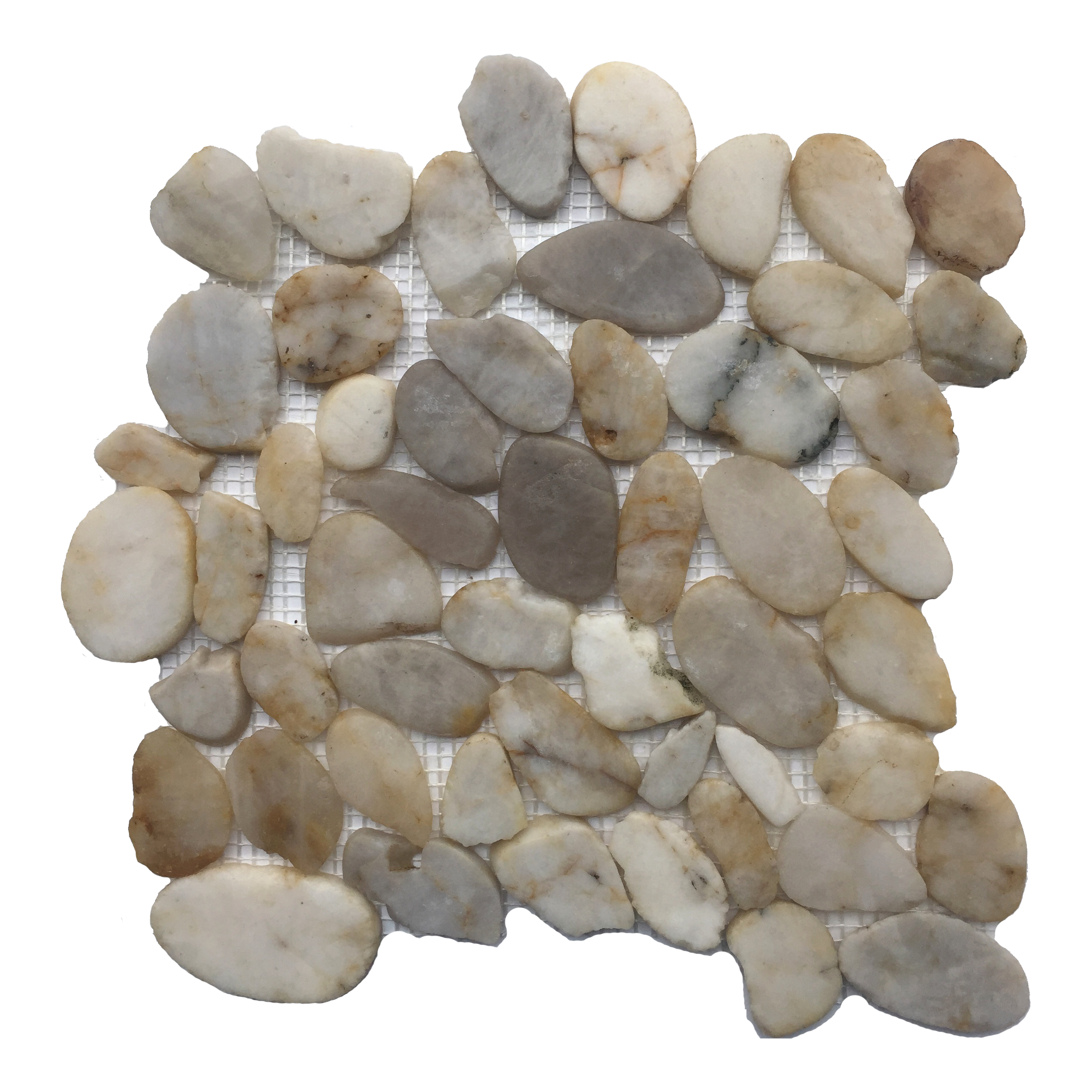 Flat White Polished Pebble Mosaic