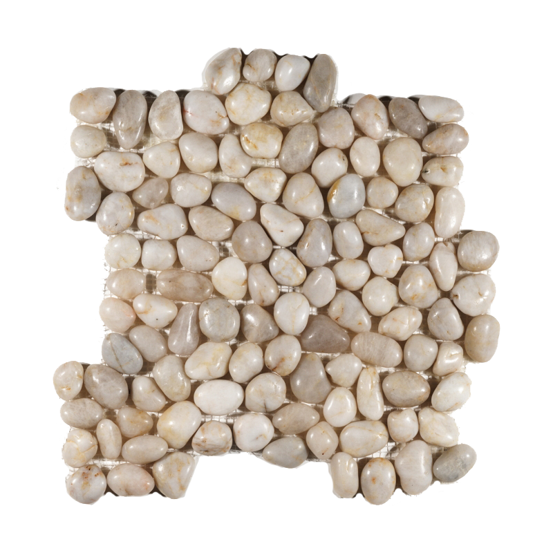 White Rounded Polished Pebble Mosaic