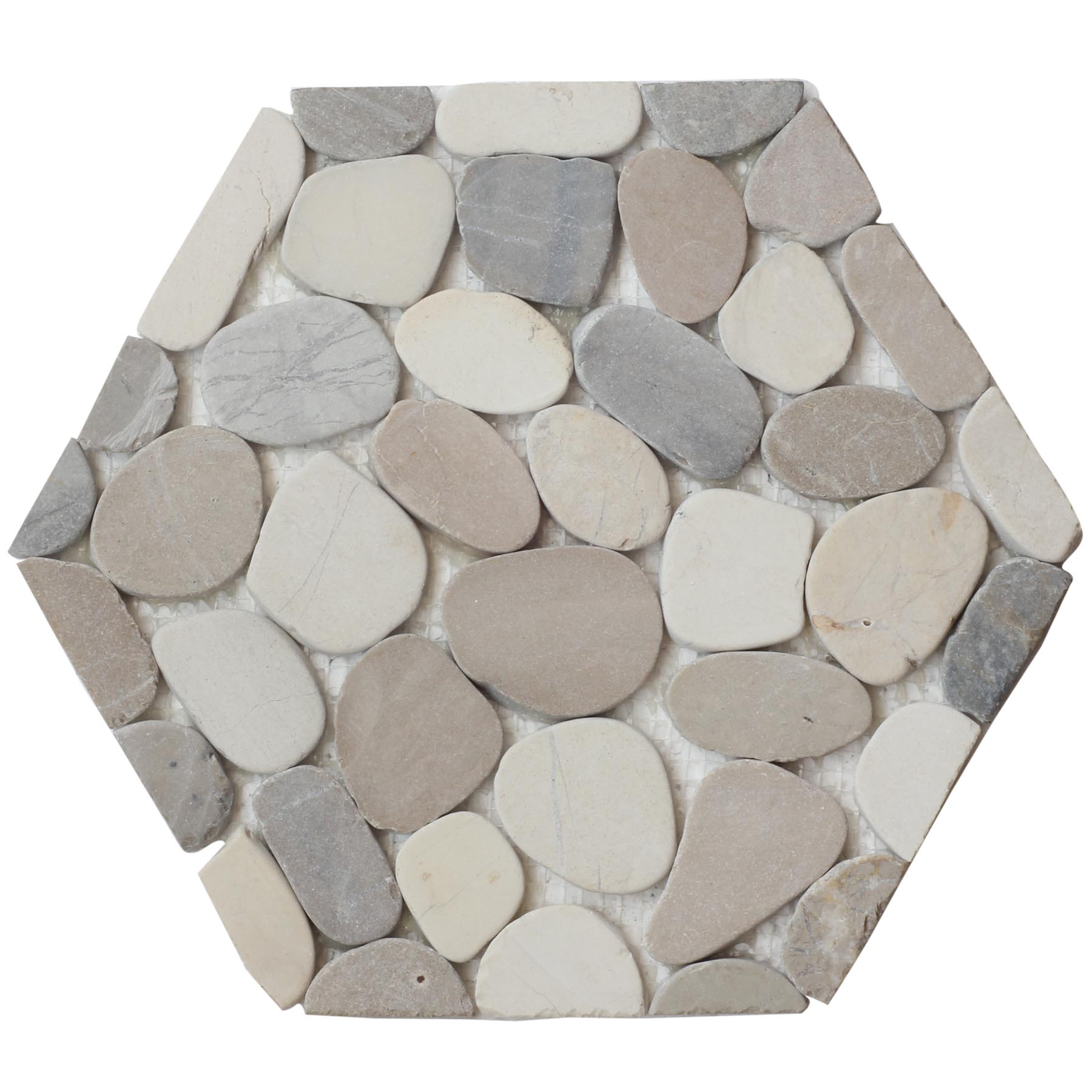 Cafe Hexagon Pebble Mosaic