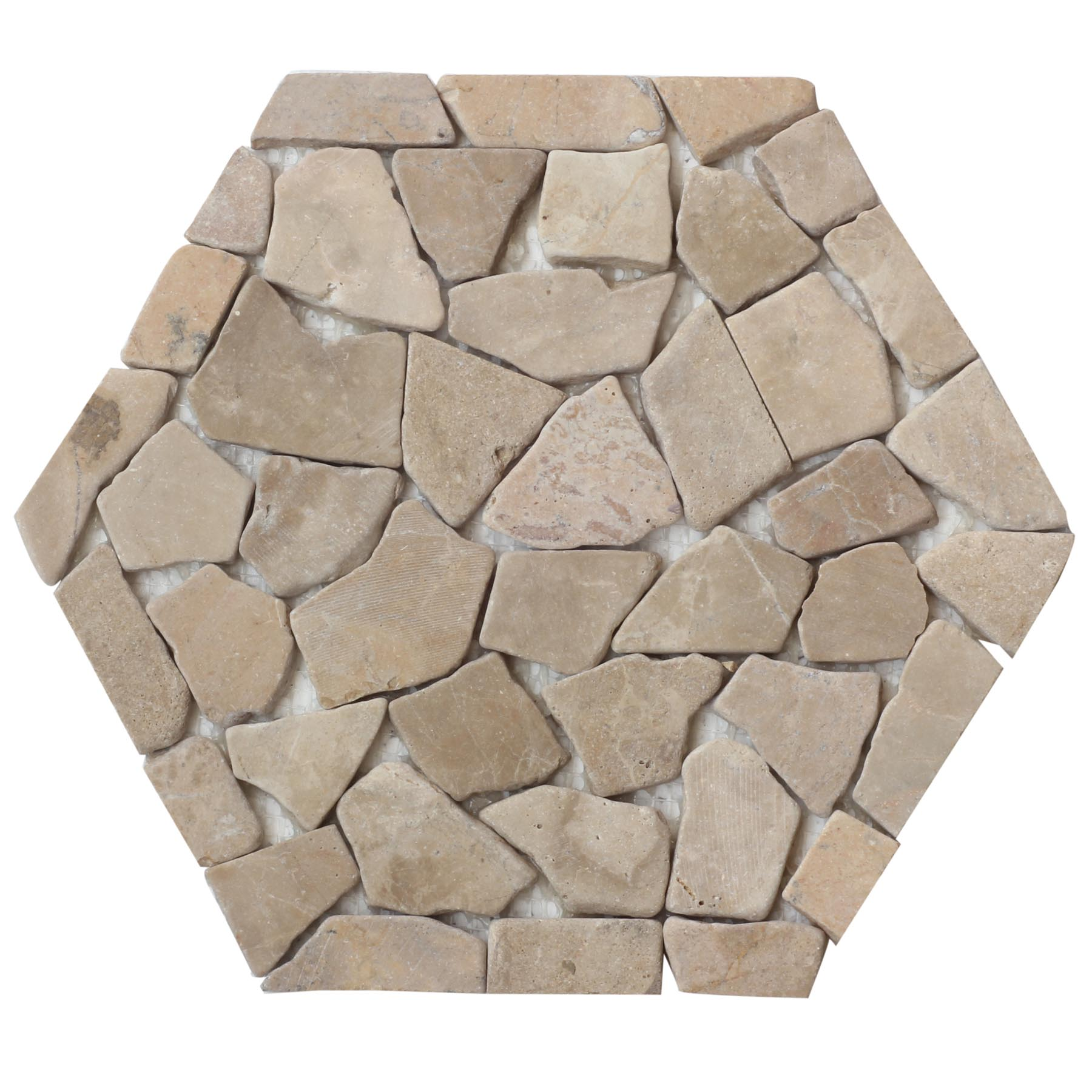 Cappuccino Hexagon Pebble Mosaic