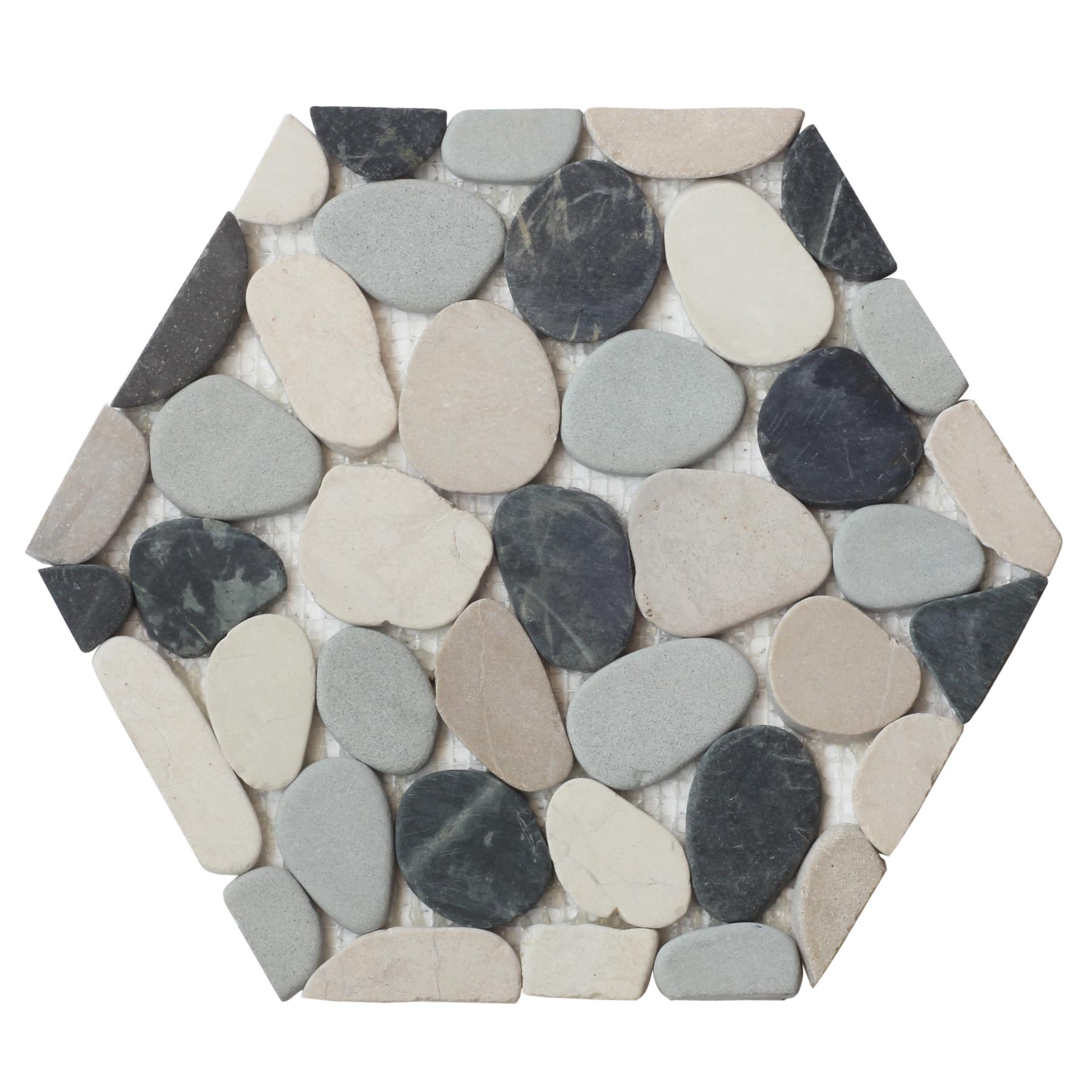 Indonesian Mix Hexagon Pebble Mosaic