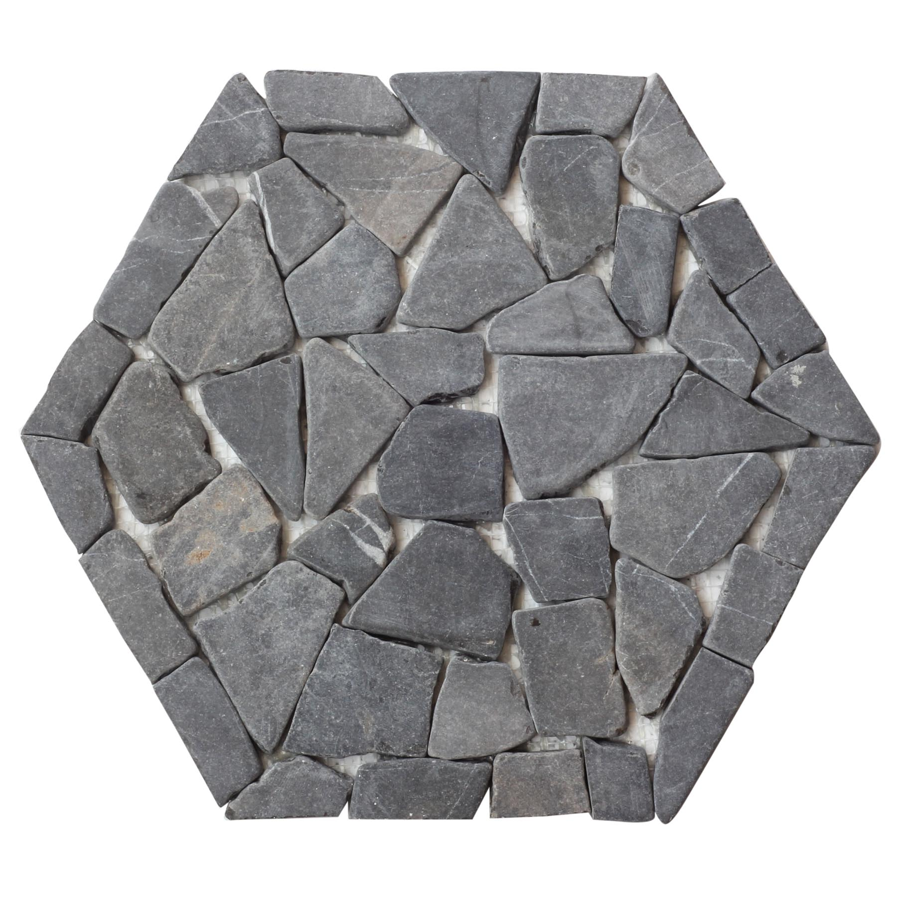 Obsidian Hexagon Pebble Mosaic