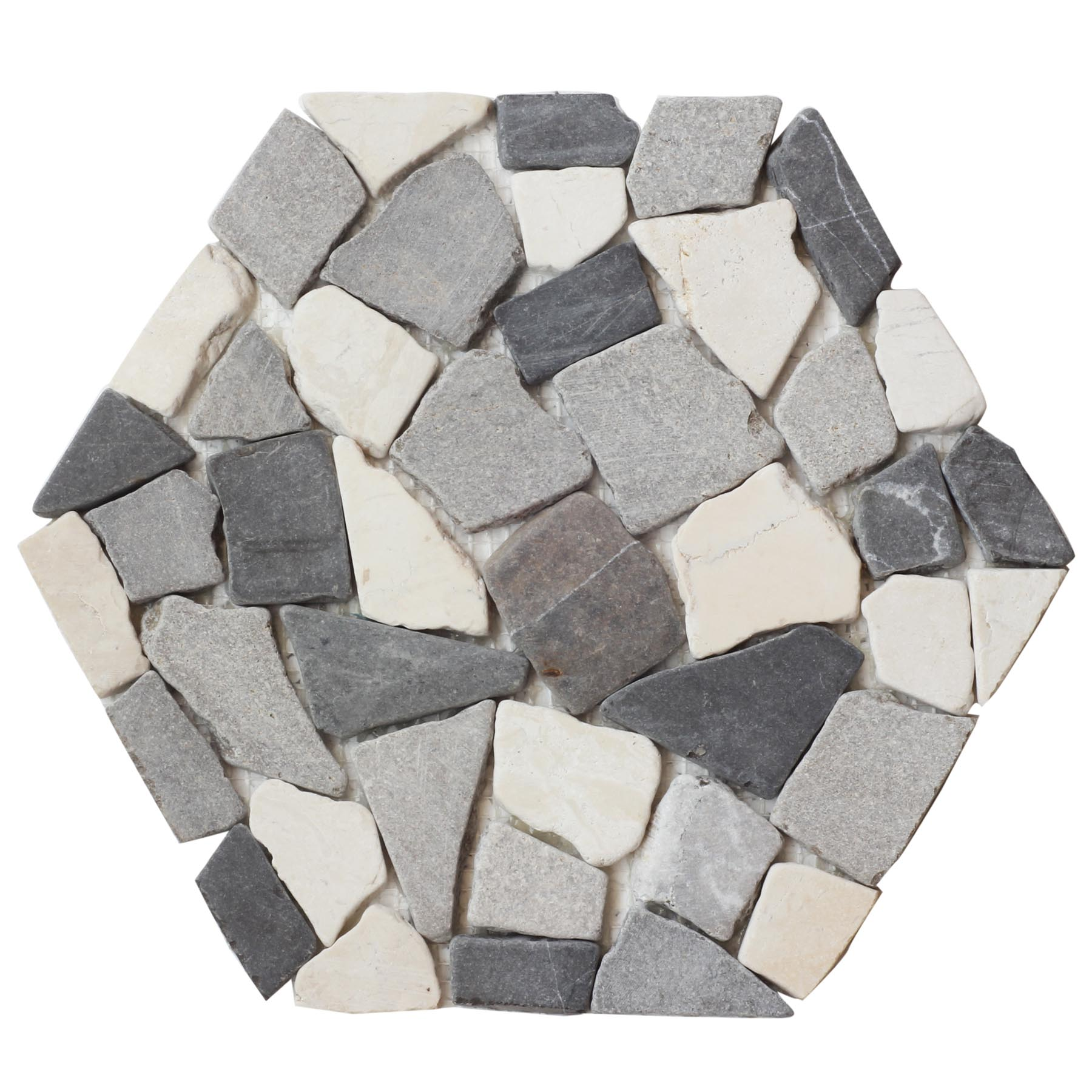 Sumatra Mix Hexagon Pebble Mosaic
