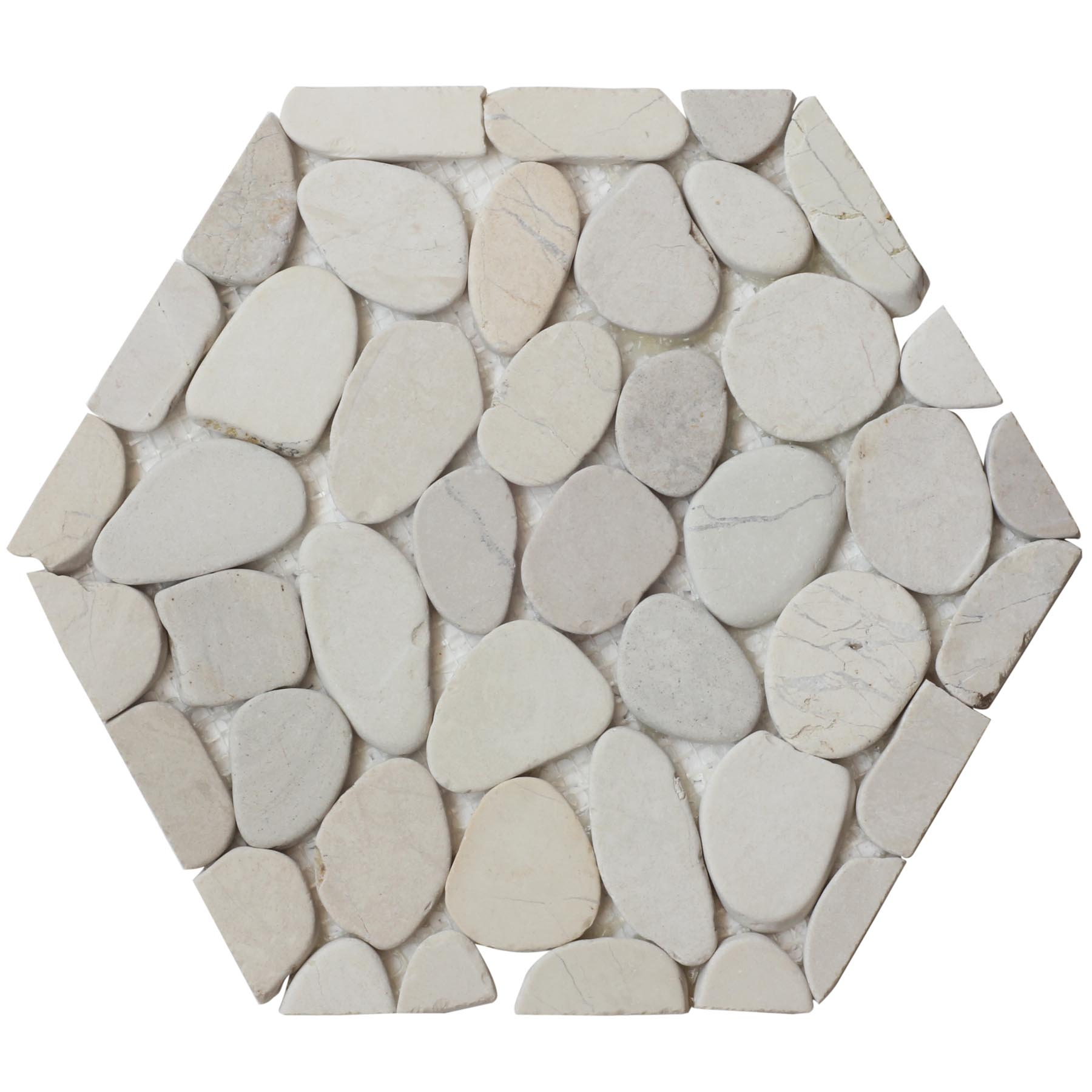 Timor White Hexagon Pebble Mosaic